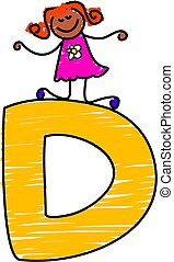 letter D girl - little girl climbing on letter D