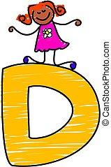 letter D girl - little girl climbing on letter D