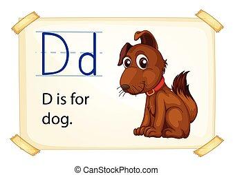 Letter D - Illustration of a flashcard letter D