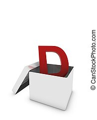letter D in box
