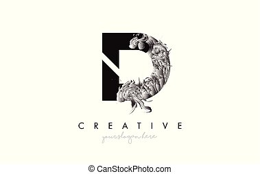 Letter D Logo Design Icon with Artistic Grunge Texture In Black and White