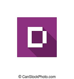 Letter D Logo Icon Design, Combined With Purple Square Shape