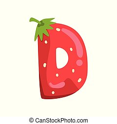 Letter D of English alphabet made from ripe fresh srawberry, bright red berry font vector Illustration on a white background
