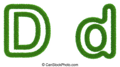 Letter D of green fresh grass isolated on a white background.