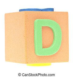 Letter D on Foam Block
