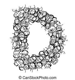 Letter D, people crowd, vector alphabet design