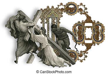 Letter D. - Victorian letter D with Jesus Christ, enfeebled...
