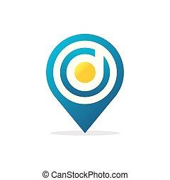 letter D Pin Logo icon vector illustration