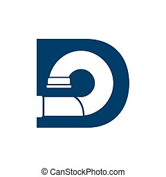 Letter D Pipe Logo Design Element with blue color
