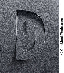 Letter D slanted 3d font engraved and extruded from the ...