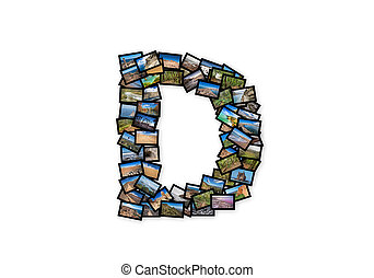 Letter D uppercase font shape alphabet collage made of my...