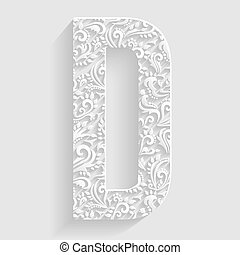Letter D. Vector Floral Invitation