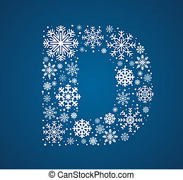 Letter D, vector font frosty snowflakes