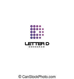 Letter D vector monogram template for digital startup. Dotted logo, emblem for busines
