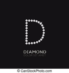 Letter D with gemstones