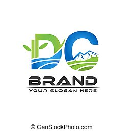 Letter DC , nature logo template