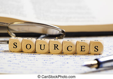 Letter Dices Concept: Sources - Concept of dices with...