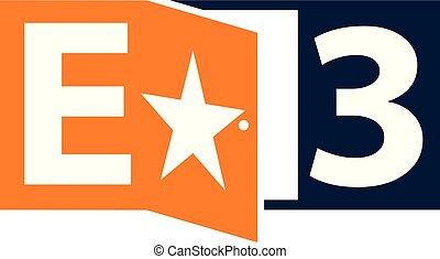 letter e 3 logo design template vector