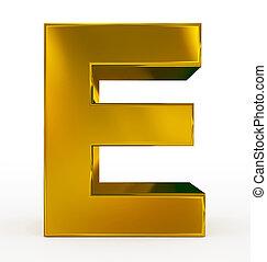 letter E 3d golden isolated on white