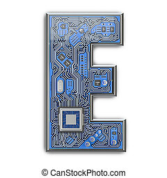 Letter E.  Alphabet in circuit board style. Digital hi-tech letter isolated on white.