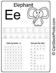 letter E. Alphabet letter. Worksheet. Task for kids. learning letters