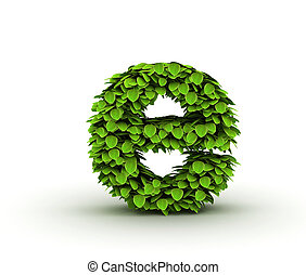 Letter e, alphabet of green leaves isolated on white background, lowercase