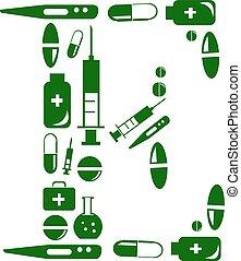 Letter E, alphabet of medicine pills