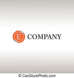 Letter E Alphabetic Logo Design Template, Crypto Curency Logo Concept, Gray, Orange, Ellipse, Rounded, Digital Coin, Virtual Money, Ecurrency