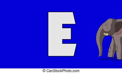Letter E and Elephant (foreground) - Animated animal...