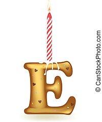 Letter E Birthday Candle - Letter E birthday candle in cake...
