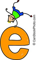 letter E boy - happy little boy balancing with one hand on a...