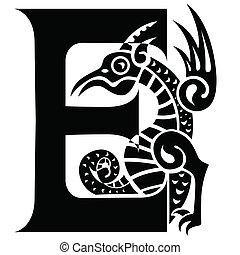 letter E - capital letter with gargoyle