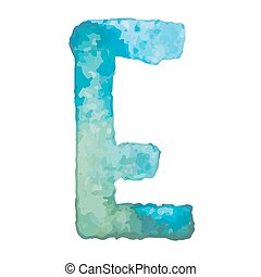Letter E Colorful watercolor aquarelle font type handwritten hand draw doodle abc alphabet letters Vector illustration.