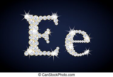 "Letter ""E"" composed from diamonds with golden frame. Complete alphabet set."