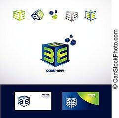 Letter E cube logo icon