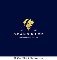 letter E diamond gold logo design