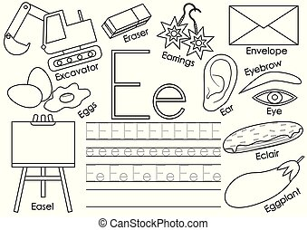 Letter E. English alphabet. Educational game for children. Writing practice. Coloring book. Vector illustration.