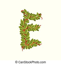 Letter E, English alphabet made of tree branches, ecology element for banner, card, label, presentation or poster vector Illustration