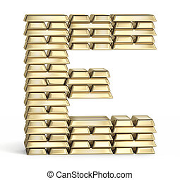 Letter E from gold bars