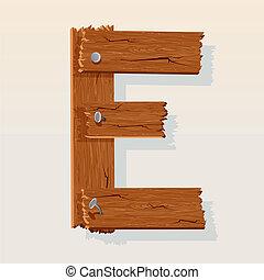 Letter E From vector Wooden Alphabet