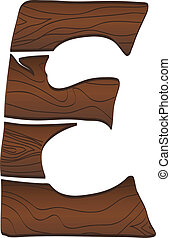 Letter E from wood isolated on the white. Vector