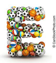 Letter E, gaming balls alphabet - Letter E, stacked from...