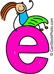 letter E girl - happy little girl sitting on giant letter E...