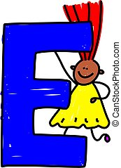letter E girl - happy little ethnic girl holding a giant...