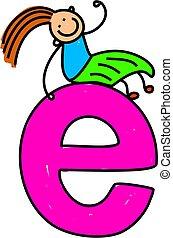 letter E girl - happy little girl sitting on giant letter E...