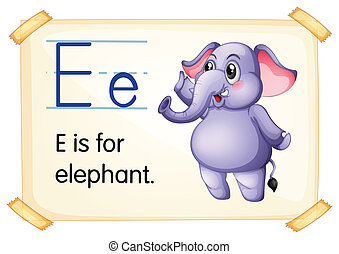Letter E - Illustration of a flashcard with letter E