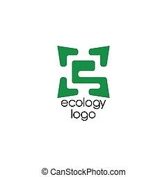 letter e leaf negative space logo