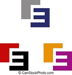 Letter E logo - Letter E placed on two squares