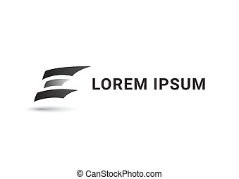letter e vector logo design template, sharp icon, propeller sign, curve symbol, negative space monogram, vector illustration