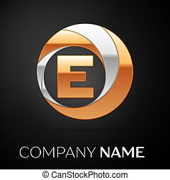 Letter E logo symbol in the golden-silver colorful circle on black background. Vector template for your design